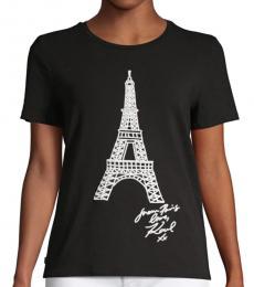 Karl Lagerfeld Black Graphic Short-Sleeve Tee