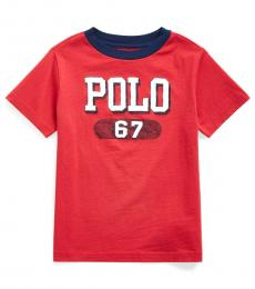 Ralph Lauren Little Boys Evening Post Red Logo T-Shirt