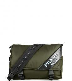 Prada Olive Logo Medium Messenger Bag