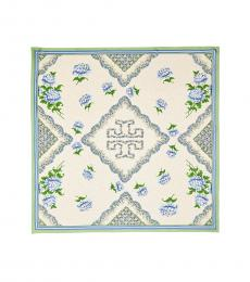 Tory Burch New Ivory-Blue Terrace Logo Square Scarf