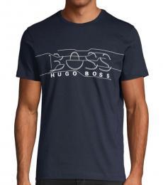 Navy Blue Regular-Fit Logo T-Shirt