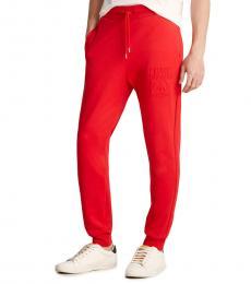 Red Embossed Logo Sweatpants