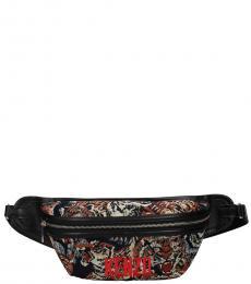 Black Printed Logo Belt Bag