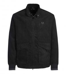Fred Perry Black Solid Logo Zipper Jacket