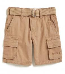 DKNY Little Boys Khaki Twill Belted Shorts