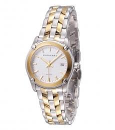 Silver Dual Tone Watch