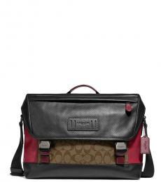 Coach Black Tan Red Double Buckle Large Messenger Bag