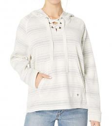 White Lace Up Hoodie