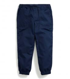 Little Girls French Navy Twill Joggers
