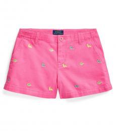 Girls Baja Pink Espadrille Chino Shorts