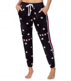 Black Star-Print Pajama Pants