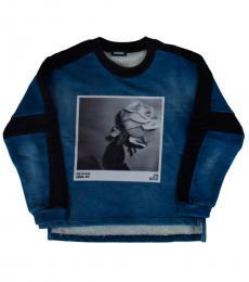 Diesel Little Girls Blue Printed Sweatshirt