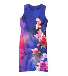 Royal Blue Floral Print Sheath Dress