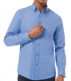 Blue Dot Stretch Cotton Shirt