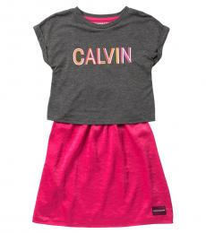 Calvin Klein Girls Dark Grey Logo 2fer Dress