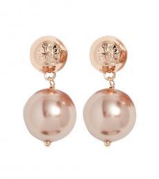 Tory Burch Rose Gold Crystal Pearl Drop Earrings