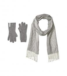 Calvin Klein Heathered Mid Grey Scarf and Knit Touch Gloves Set
