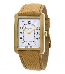 Salvatore Ferragamo Gold Portrait Gent White Dial Watch