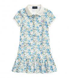 Girls Blue Floral Mesh Polo Dress