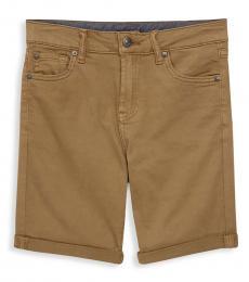 7 For All Mankind Boys Dark Khaki Classic Stretch Shorts