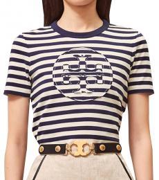 Tory Burch Navy Blue Striped Logo T-Shirt