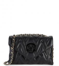 Mario Valentino Black Lynnd Studded Medium Shoulder Bag