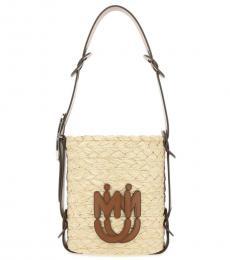 Miu Miu Beige Brown Logo Mini Bucket Bag