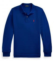 Ralph Lauren Boys Blue Long-sleeve Polo