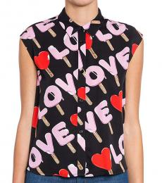 Love Moschino Black Logo Grahic Top