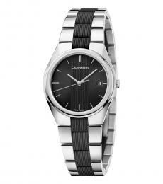 Calvin Klein Silver Contra Black Dial Watch