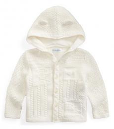 Ralph Lauren Baby Boys Cream Neutral Hooded Cardigan