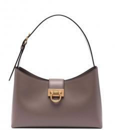Salvatore Ferragamo Grey Trifolio Large Shoulder Bag