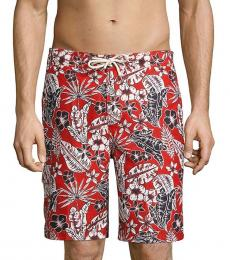 Tommy Bahama Red Floral-Print Swim Trunks