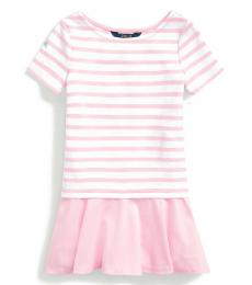 Little Girls White-Carmel Pink Striped Dress