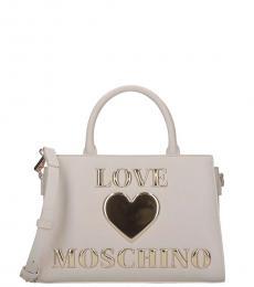 Love Moschino White Embossed Logo Small Satchel