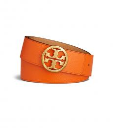 Tory Burch Cardamom Gold Reversible Logo Belt