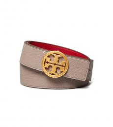 Tory Burch Gray Red Apple Reversible Logo Belt