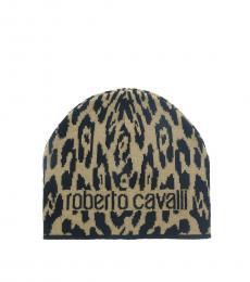 Roberto Cavalli Camel Jaguar Beanie