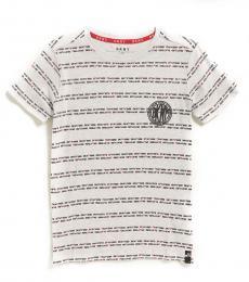 DKNY Boys Light Grey Logo Tape Stripe T-Shirt