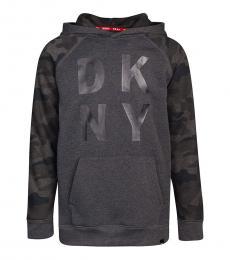 DKNY Boys Dark Grey Camo Logo Sweatshirt
