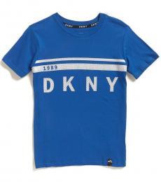 Boys Electric Blue Metallic Mesh Stripe Logo T-Shirt