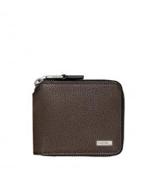 Calvin Klein Dark Brown Compact Zip Wallet