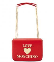Love Moschino Red Logo Medium Shoulder Bag