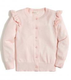 J.Crew Girls Sunwashed Pink Ruffle Cardigan