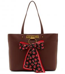 Love Moschino Maroon Scarf Large Tote