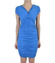 Just Cavalli Blue V Neck Bodycon Dress