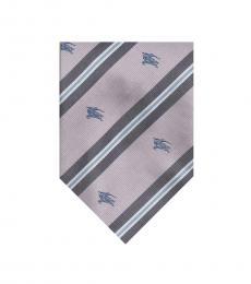 Burberry Pink Logo Stripe Tie