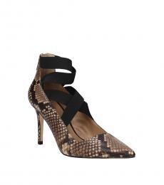 Snake Print Leather Heels