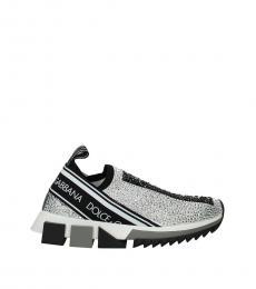 Silver Logo Slip On Sneakers