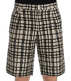 White Black Striped Shorts